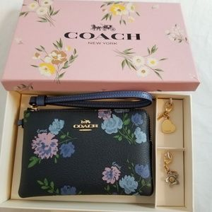 Coach Navy Floral Wristlet + Two Charms Boxed Set